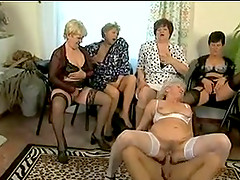 Two Blonde Grannies Suck A Big Cock