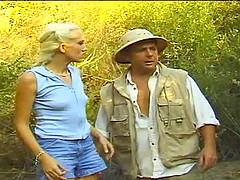 Lost from the expedition, Alana Evans greets her scientist coworker by peeling off