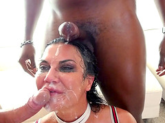 Busty brunette 	MILF Jasmine Jae wants to feel massive cocks