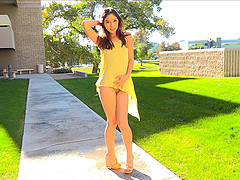 Public nudity with Melody who is wearing a cute yellow dress