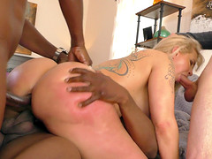 Nasty black men fuck a blonde as her lover is watching