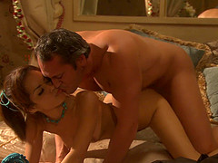 Flat-chested honey Daisy Marie undresses her man and enjoys his rod
