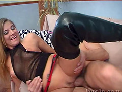 Agnes licks her pierced nipple and has her slippery pussy boned