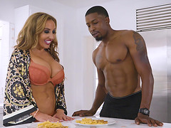 Richelle Ryan gives a hot blowjob to an insatiable black man