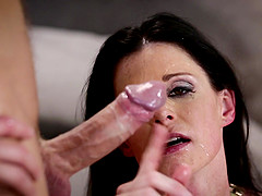 Mature brunette India Summer sucks on a lover's hard cock