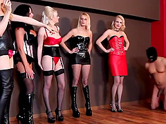 Hot Milfs in Leather dominate the two guys