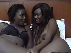 African lesbos Nisa and Anaya enjoy licking pussies