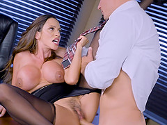 Amazing office affair with stunning MILF Ariella Ferrera