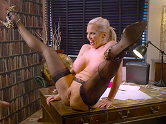 Awesome office shag with insatiable blonde secretary Rebecca More