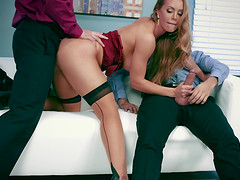 Nicole gets worked on hardcore in mmf office porn shoot