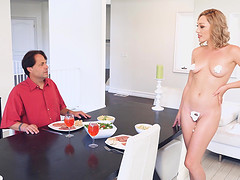 Naked babe Lily Labeau fucked hard in front of a fellow
