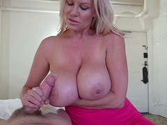 Blonde With natural tits awarding big cock with handjob