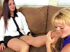 Lusty Krissy Lynn gets aroused with a brunette milf and fucks her