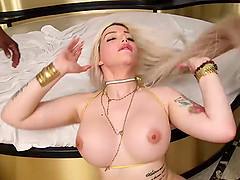 Lovely blonde shemale with big ass gets gangbanged and barebacked hard