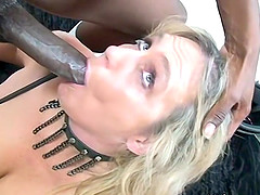 Busty blonde mature sucks two black cocks