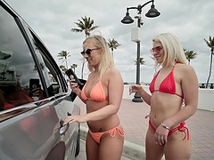 Stunning Bailey Brooke and her friends masturbate together in the car