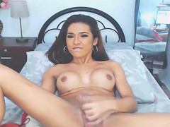 Hot Busty Shemale Masturbate On Cam