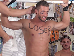 Sporty gay guy with a small dick gets abused after a game