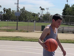 Sporty Latino gay guy pounded after shooting hoops