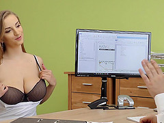 Suzie Sun takes blouse off and gives titjob to loan manager