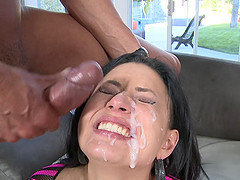 Nasty Eva Angelina finally gets to bang with two guys at once