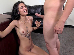 Tattooed cutie Brianna makes a long cock disappear in her