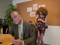 Ebony babe Cecilia Lion gets fucked by her older boss