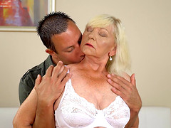 Blonde granny Irene gets talked into jumping on a long dick