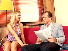 Gorgeous Sunny Diamond finally agrees to bang with him on the couch