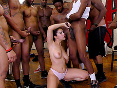 Valentina Nappi pleases more kinky guys at once by sucking their cocks