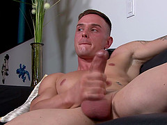 Solo gay dude wants to jerk his stiff dick until he cums