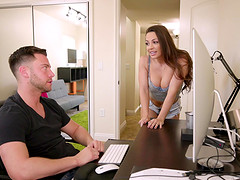 Stunning Abigail Mac likes to massage a dick with her pussy