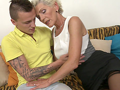 Short haired granny Irenka S. gets her tits licked and pussy fucked