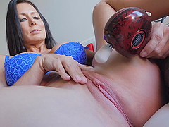 Brunette MILF Reagan plays wit a vibrator on her clit until she cums