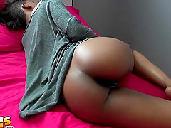 Ebony slut Ajaa xxx gets a cumshot on her big round ass after fucking
