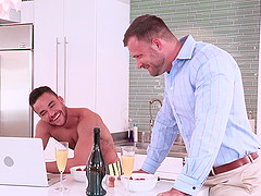 Mature gay business man seduced and fucked by a Latino dude