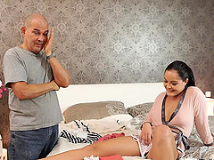 Beautiful chick and old man unite naked bodies in bedroom