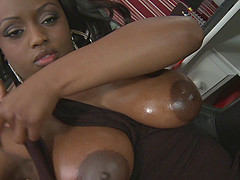 Interracial one on one action with oiled up Jada Fire loving his dick