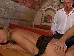 Kristi Lust gets fucked by two of her coworkers after closing time