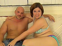 Chubby brunette takes off her panties and sits on a hard cock