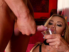 Busty MILF Claudia Valentine fucked roughly and made to drink cum