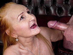Mature amateur blonde granny Marianne gets sprayed with cum