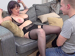 Purple haired mature amateur Tigger pounded doggy style