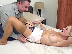 Blonde mature amateur MILF Molly Maracas blows and rides in a hotel
