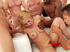 Hardcore interracial gangbang and rivers of cum for Sarah Vandella