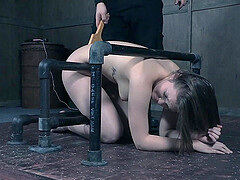 Long haired beauty Nora Riley spanked while being tied up