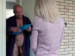 Teen blonde Missy Luv seduces and blows and older guy's dick