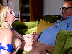 Busty chubby mature Loula Lou gets a facial in fishnets