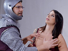 Buxom Ivy Lebelle pounded doggy style hardcore in front of her man