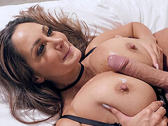 Bombshell MILF in stockings Ava Addams gets cum on her big tits